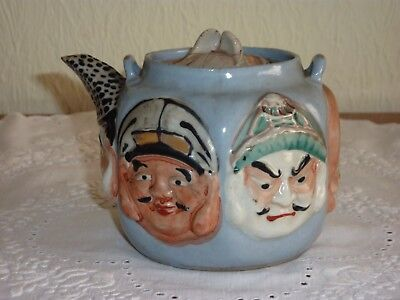 Japanese Banko Ware Tea Pot Decorated with the Faces of Immortals - A/F- Signed