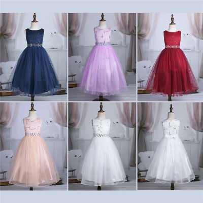 New Sequined Flower Bridesmaid Princess Wedding Girls Dress Party Kids Clothes