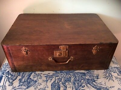 French Vintage Wooden Suitcase, Storage Chest (1264)