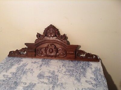 Antique French Wooden Furniture Finial Pediment - Salvaged Vintage (2199)