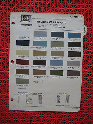 1971 Cadillac paint chip color chart