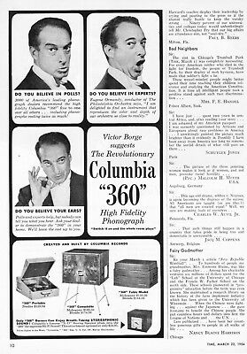 1954 Pianist Victor Borge photo Columbia 360 High Fidelity Phonograph print ad