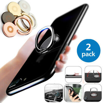 2pcs Universal 360° Finger Ring Cell Phone Holder Stand Car Magnetic Metal Plate