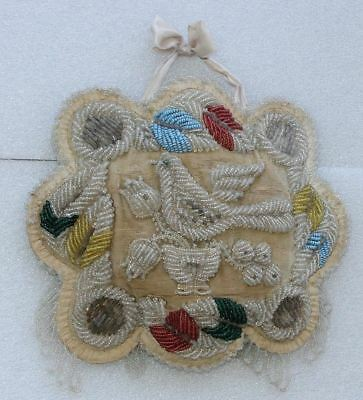Authentic Antique Mohawk Iroquois Indian Beaded Bird Whimsy Pillow Pin Cushion