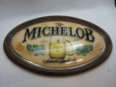 Michelob Beer Classic Sign Oval Raised Plastic Frame Vintage Bar Decor 15 x 23