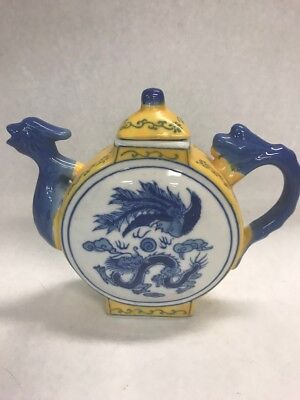 Vintage Porcelain  tea pot Slim style yellow blue lid 7 by 7 inch Dragon marked