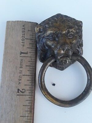 Brass vintage Antique Door Knocker Lions Head Ring 2.5 Figural lion Match Decor