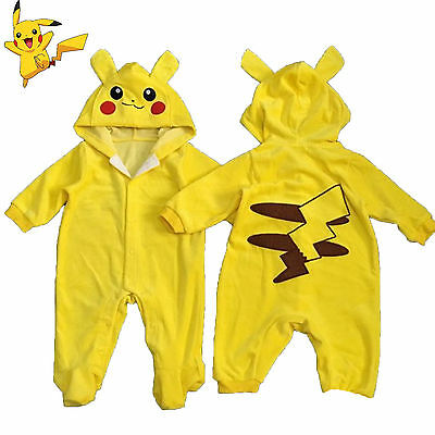 Pokemon Pikachu Newborn Baby Boy Girl Outfit Rompers Hooded Costume Clothes AU