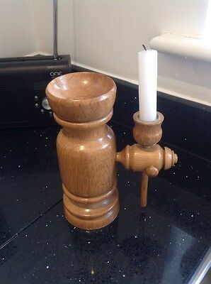 Vintage Large Oak Turned Wooden Double Candle Holder Church Gothic