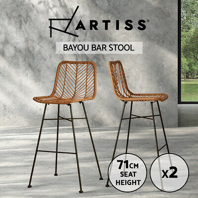 2x Outdoor Bar Stools Furniture Rattan Barstool Dining Chair PE Wicker Brown3923