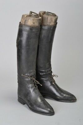Foxhunting Lady's Late Victorian Black Leather Riding Boots w Wooden Trees. ZGU