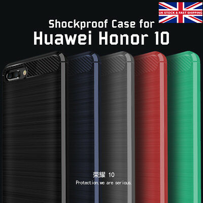 Huawei Honor 10 Silicone Protective Shockproof Brushed Carbon Fibre Case Cover