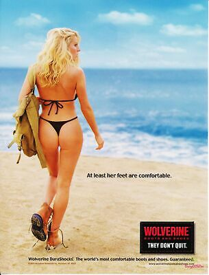 Print Ad~2003~Wolverine Work Boots~Blonde in Thong on Beach~Advertisement~H500