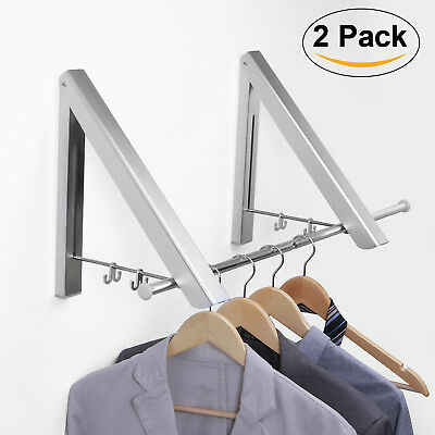 Wall Mounted Folding Drying Rack Clothes Towels Hanger Home Living Room Bathroom