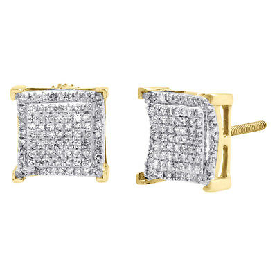 10K Yellow Gold Real Diamond Double Square Frame 9mm Earrings Pave Studs 1/2 CT.