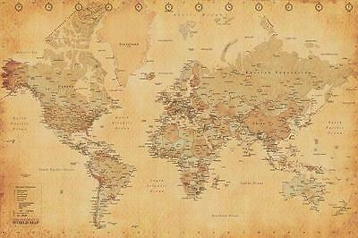 NEW * WORLD MAP *  VINTAGE STYLE  PYRAMID MAXI POSTER 62cm X 91cm  ...no21