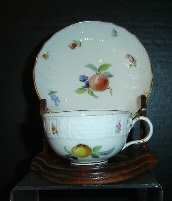 Antique Exquisite Meissen Demitasse Cup And Saucer With Fruits and Flowers Rare.