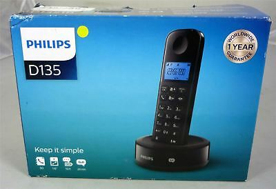 Philips D1351 Cordless Home Phone Telephone Answering Machine - Black