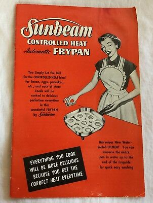 Vintage Sunbeam Controlled Heat Automatic Frypan Instruction Manual 1953