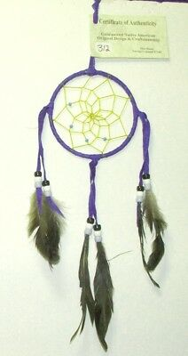 "Native American Dreamcatcher Navajo Indian  4"" dia hoop Purple #312"