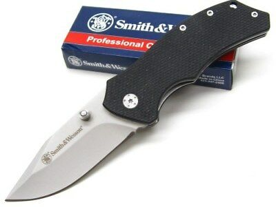 Smith & Wesson S&W Black Straight Drop Point Folding Linerlock Knife SW602