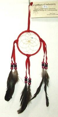 "Authentic Native American Dreamcatcher RED 3"" hoop FREE SHIPPING #811"