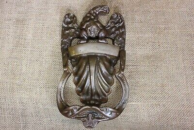 Eagle U0026 Shell Door Knocker Old Antique Vintage Solid Tarnished Brass 8u201d  Large