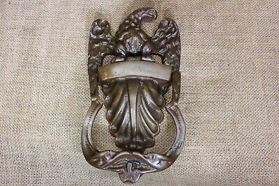 "Eagle & shell door knocker old antique vintage solid tarnished brass 8"" large"