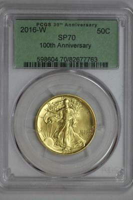 2016 W Gold Walking Liberty PCGS SP70 100th Anniversary First Strike 50c Coin