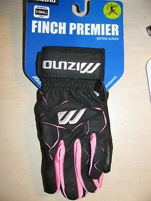 Mizuno Women's Softball Batting Gloves NEW Black/Pink  XS Finch Premier X SMALL
