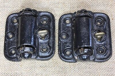 2 vintage Screen Door Hinges quick release old Heavy Duty self close spring NOS