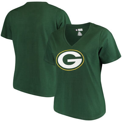 4fe0aac8724 WOMEN S MAJESTIC GREEN Green Bay Packers Plus Size Logo V-Neck T-Shirt -   23.88