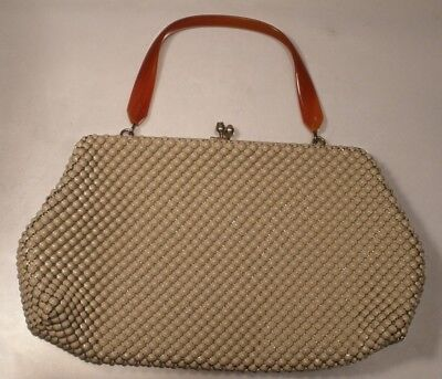 Whiting and Davis Metal Mesh Purse with Plastic Handle