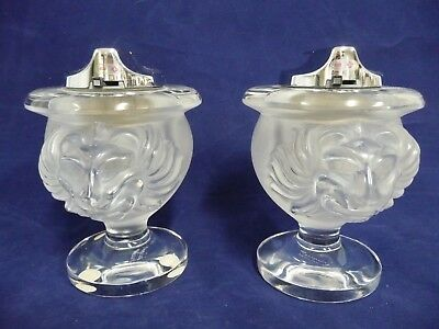 Lovely Pre-Owned Pair Of Lalique France Lion Lighters