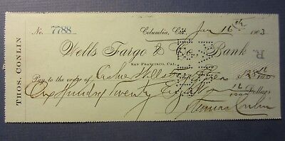 Old 1903 - WELLS FARGO & Co. - Columbia CA. - Bank Check - Thos. CONLIN