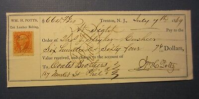 Old 1869 TRENTON N.J. Sight Draft / Bank Check - Revenue Stamp - Wm. H. POTTS