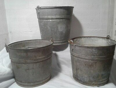 Vintage Primitive Planter Buckets 3 Garden Bucket Handle Galvanized Metal  Pail