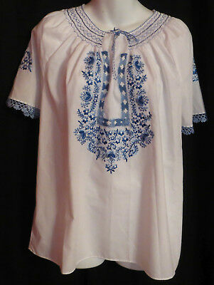 Hand Embroidered Hungarian Folk Floral Blouse L White Blue Crochet Hungary Woman