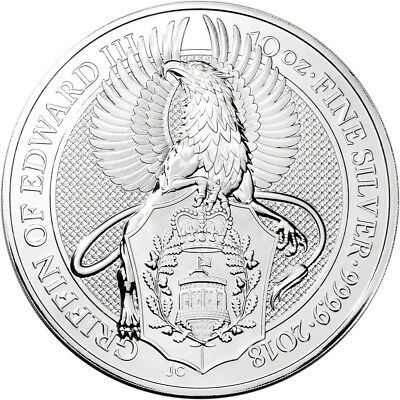 2018 Great Britain Silver 10 oz Queen's Beasts Griffin £10 - BU