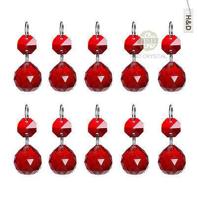 5pcs Red Glass Hanging Crystal Ball Prism Chandelier Feng Shui Drop Pendant 20mm