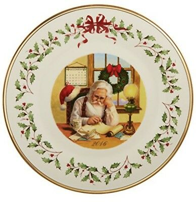 New - 2016 Lenox Annual Holiday Collectors Plate - Santa Checking List - W/o Box