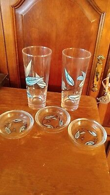 Salem Biscayne Lot Glass Coasters Iced Tea Glasses Very Nice Condition Look