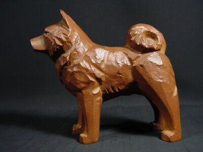 Vintage Akita Dog Cast Iron Japanese Standing Waiting for Command Artist Signed