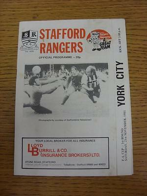 21/11/1981 Stafford rangers v York City [FA Cup] (Marked). This item is in very