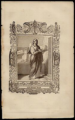 ST MARTHA OF BETHANY, VIRGIN 167x267mm Antique 19th ENGRAVING FROM BOOK