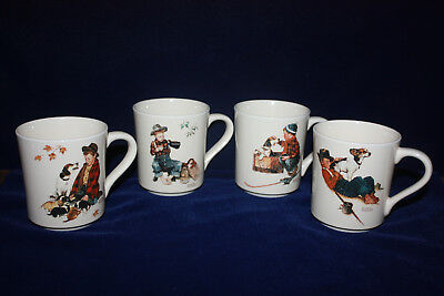 Vintage 4 Norman Rockwell Boy With Dog Mugs Coffee / Tea Cups