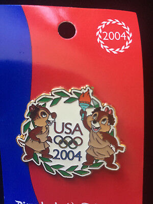 Disney 2004 Olympics USA Olympic Logo - Cast Exclusive Chip & Dale Pin
