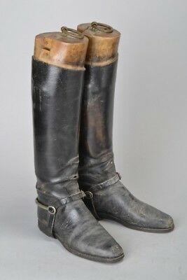 Foxhunters' Mid C20th Black Leather Riding Boots with Wooden Trees. Ref GOF