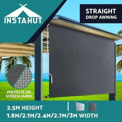 Instahut Retractable Straight Drop Roll Down Awning Patio Roller Shade Multi