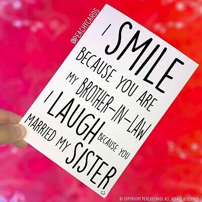 Funny Birthday Cards Funny Wedding Cards, Card For Brother In Law Smile PC402